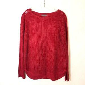 Retro-ology Top Medium Red Long Sleeve Knit Shirt